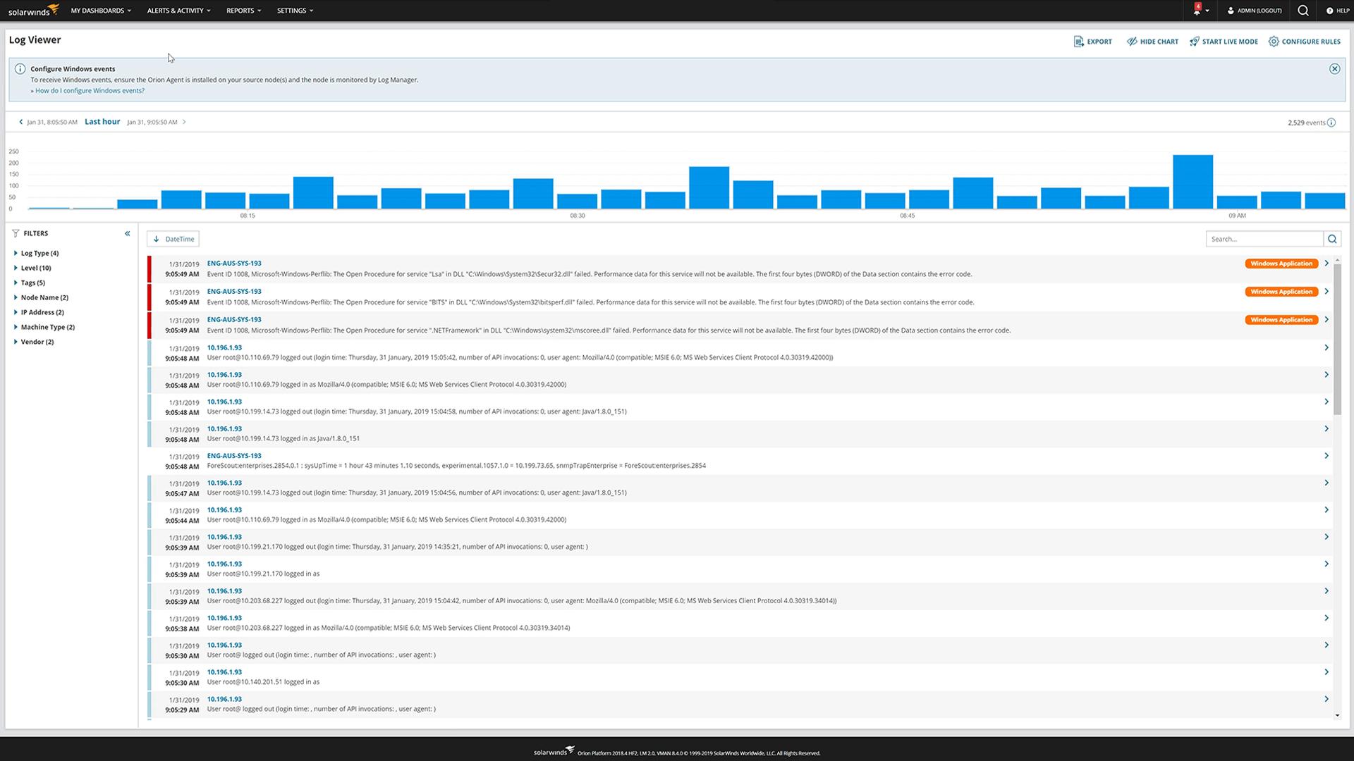 demo gratuita solarwinds log analyzer LA