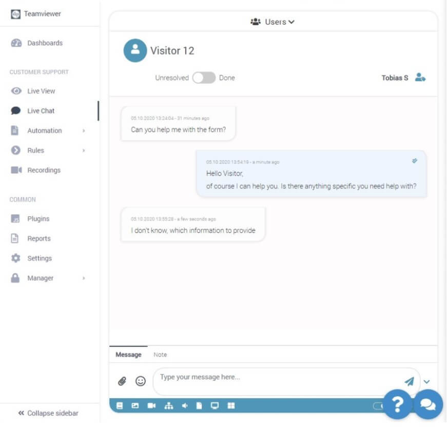 TeamViewer Tensor Co-Browsing and Chat